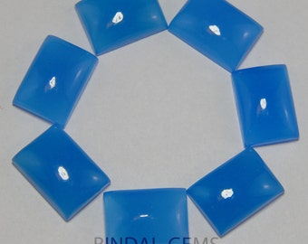 25 Pieces Lot Blue Chalcedony Octagon Shape Loose Smooth Polished Gemstone