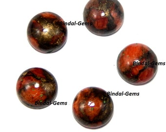 15 Pieces Orange Copper Turquoise Round Shape Loose Smooth Polished Gemstone
