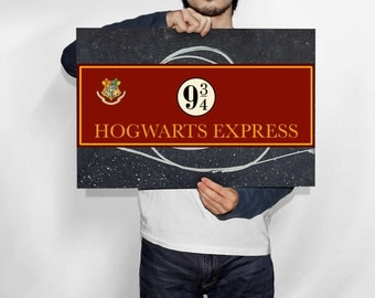 Unofficial Harry Potter Inspired Hogwarts Express Platform 9 3/4 Sign, Harry Potter Party ~ Instant Digital Download