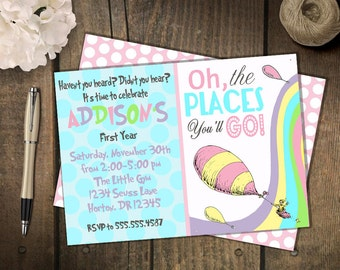 Oh the places you'll go birthday invitation