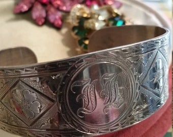 Antique Engraved Silver Cuff Bracelet