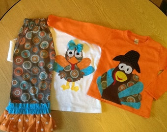Funky Thanksgiving Fall Siblings Turkey Top and girl Double Ruffle Pants  6 12 18 24 2 3 4 5 6 7 8