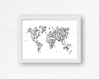 Cat Print Cat Map Art Print World Map Watercolor Cat Art Black Cat Watercolor Painting Print Map Wall Art Cat Lover Art Wall Decor