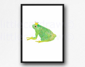 Frog Prince Print Watercolor Painting Print King Frog Royal Frog Art Print Frog Illustration Unframed Art Print Wall Decor