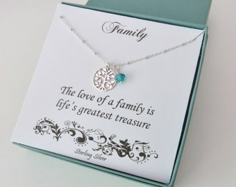 Family Tree, Sterling Silver Tree of Life necklace, Family, new mom, mother, grandchildren birthstones,children birthstones,personalized
