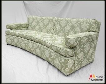 60s Mid Century Modern Hollywood Regency Henredon Curved Sofa Green Ivory NICE