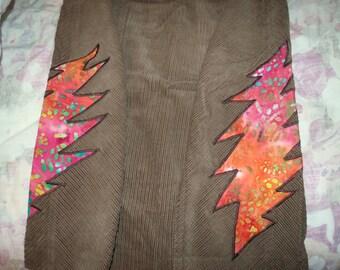 Grateful dead upcycled corduroy double bolt skirt
