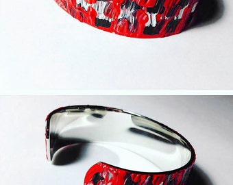 Silver Cuff Bracelet - Hand Painted with Glossy Finish