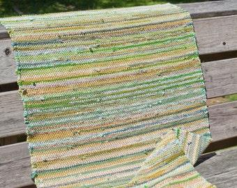 Hand woven cotton rag rug runner