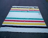 Vintage Hudson's Bay Made in England Wool Cabin Hunting 4 Point Full Size Blanket Size 88 inches tall by 70 inches wide