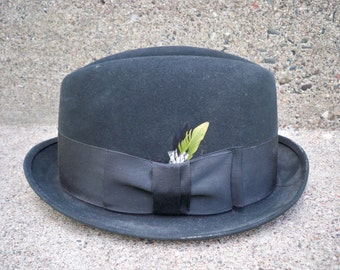 Vintage Royal Stetson Green Felt Fedora Gangster Pimp Swinger Hipster Gentleman Hat Size 7 Made in USA