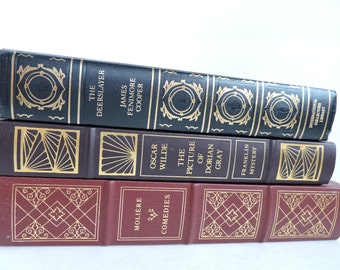 Classic Book Set Leather Bound   Set of 3 Franklin Library & International Collectors   Bookshelf Study Decor   GreenTreeBoutique
