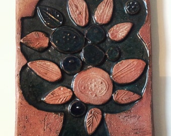 Laholm swedish decor ceramic wall hanging tree collectible plaque modern design.