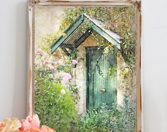 Rustic Cottage Watercolor, Green Cottage Door, Fine Art Print, French Cottage Chic, Watercolor Art Print, French Home Decor, Wall Art