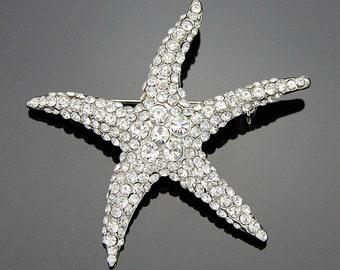 Brooch Starfish Rhinestone Pin - Beach Under the Sea or Nautical Bouquet Jewel