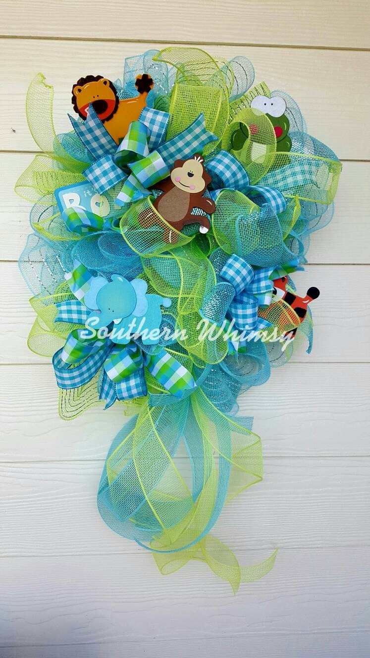 Door decoration baby boy swag with name its a boy door wreath for 3 wreath door decoration