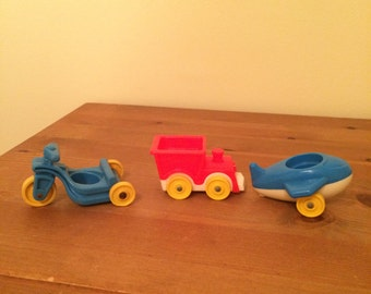 Vintage Fisher Price Toys Train Plane and Motorcycle Set of 3