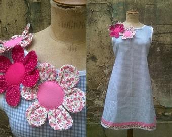 gingham dress flowers