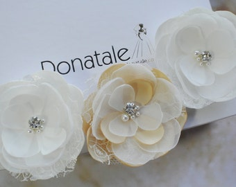 Wedding hair accessories Wedding hair piece Wedding hair flower Wedding hair pins Wedding hair clip Floral Rustic  Ivory Champagne -MARZIA