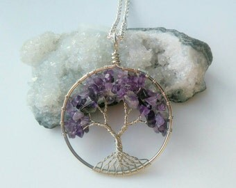 Amethyst Gemstone Tree Of Life Pendant Necklace