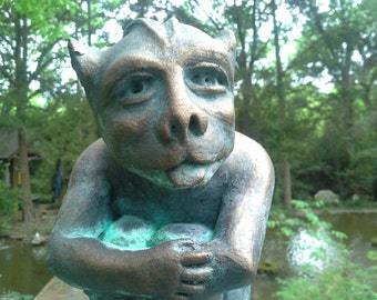 Bronze cast in cement Gargoyle statue fun garden sculpture