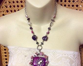 Vintage 1960's hand made artisan tribal purple gemstone necklace .