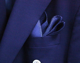 SILK Pocket Square in Cornflower or Horizon Blue and Navy