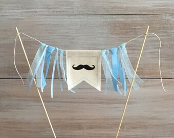 Mustache Cake Banner. Mustache Baby Shower Cake Banner. 1st Birthday Mustache Banner.  Little Man Birthday.