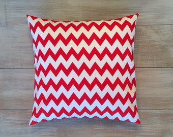 """Red and White Chevron Pillow Cover. 14"""" Pillow Cover. Red and White Zig-Zag Pillow Cover."""