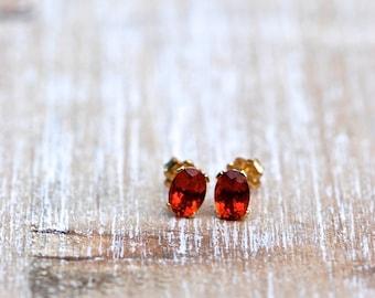 Fire Citrine Earrings, Citrine Gold Stud Earrings, AA-Grade Fire Citrine Studs, Minimalist Earrings, Gold Earrings, November Birthstone