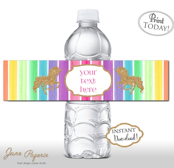 Water Bottle Name Tags: INSTANT DOWNLOAD Rainbow Unicorn Water Bottle Labels