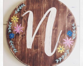 Personalized Initial Vintage Wood Sign