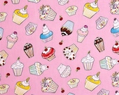 SALE Cupcake fabric CUPCAKES in Pink Tiddlywinks fabric by Dena Designs for Free Spirit / Westminster Fabric - green blue pink yellow