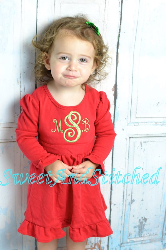 Personalized Baby girl Christmas dress - red ruffle Christmas dress with Green name or monogram, personalized Christmas outfit