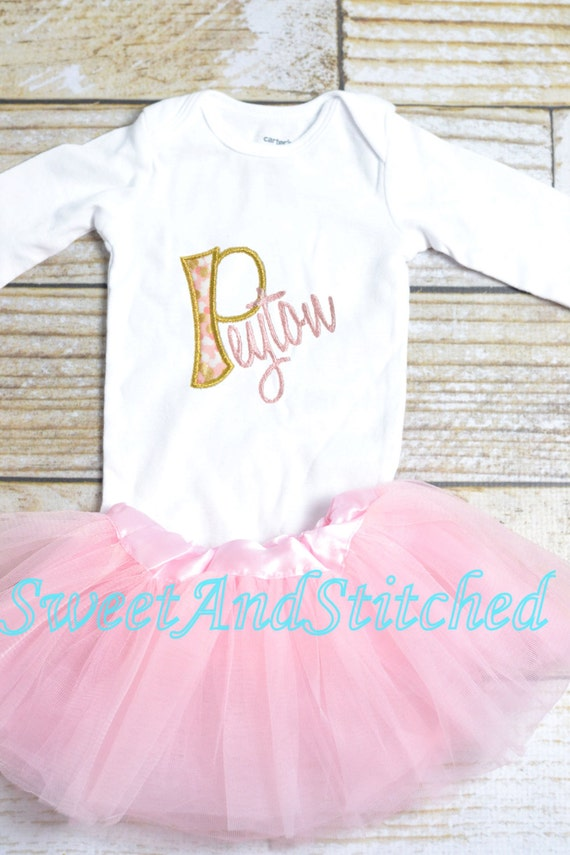 Personalized baby girl outfit with tutu in pink and gold, monogrammed baby outfit, baby shower gift!  Personalized take home outfit,