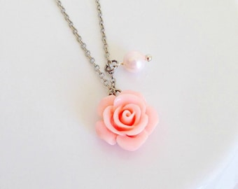 Baby Pink Resin Rose & Pearl Necklace