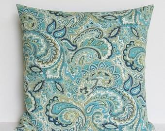 Navy Teal Paisley Outdoor Pillow Cover Decorative Throw Accent Patio Porch Sunroom 16x16 18x18 12x16 12x18 Lumbar Zipper Aqua