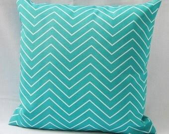 Outdoor Aqua Teal Turquoise Chevron Pillow Cover Decorative Throw Accent Patio Porch Sunroom PIllow 16x16 18x18 12x16 12x18 Lumbar Zipper