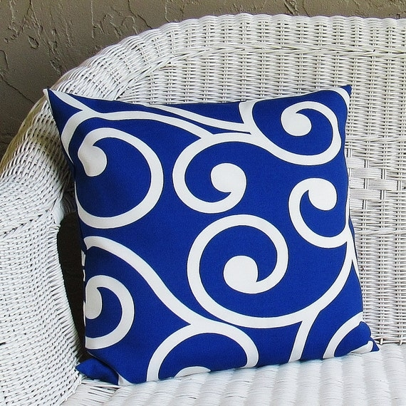Outdoor Cobalt Royal Blue Pillow Cover Decorative Throw Accent