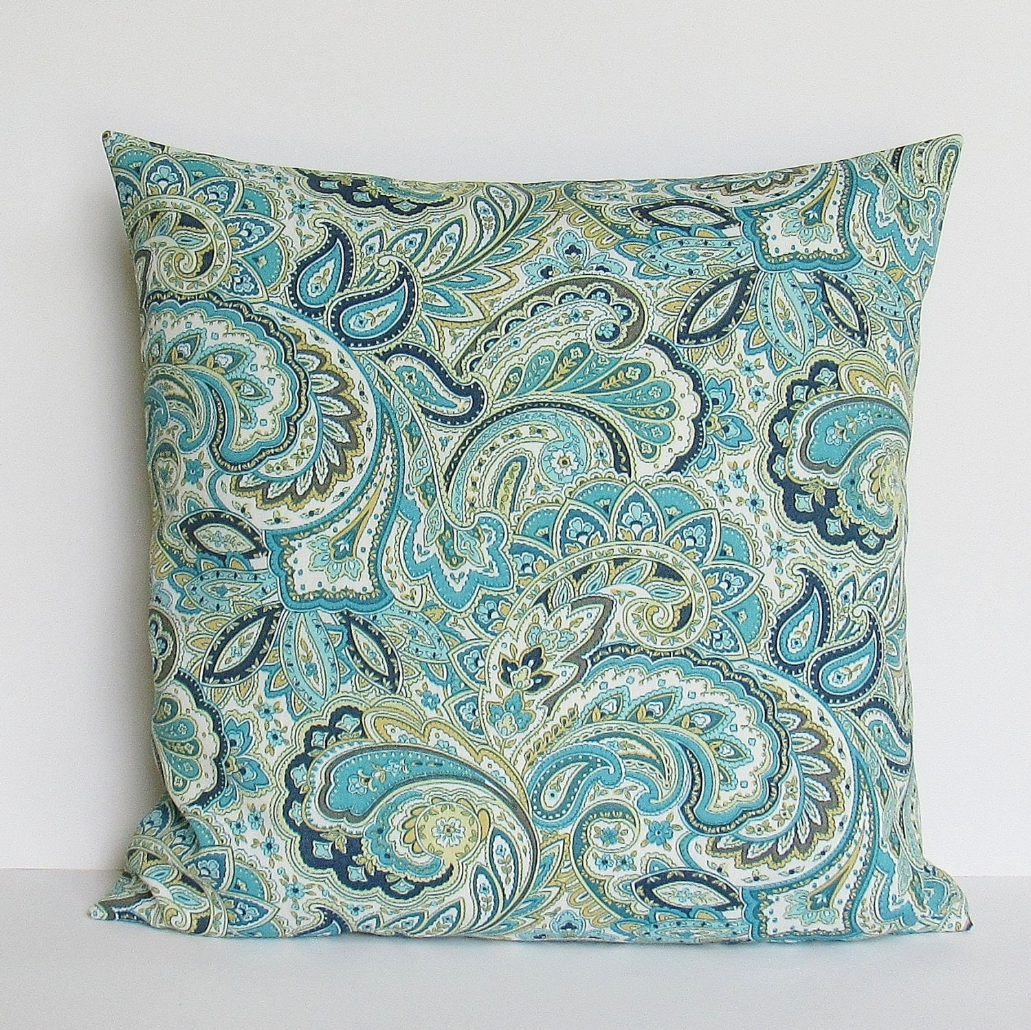 Navy Teal Paisley Outdoor Pillow Cover Decorative Throw Accent