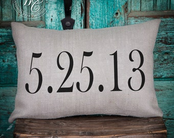 wedding date pillow / established pillow / wedding gift / personalized wedding gift / anniversary gift