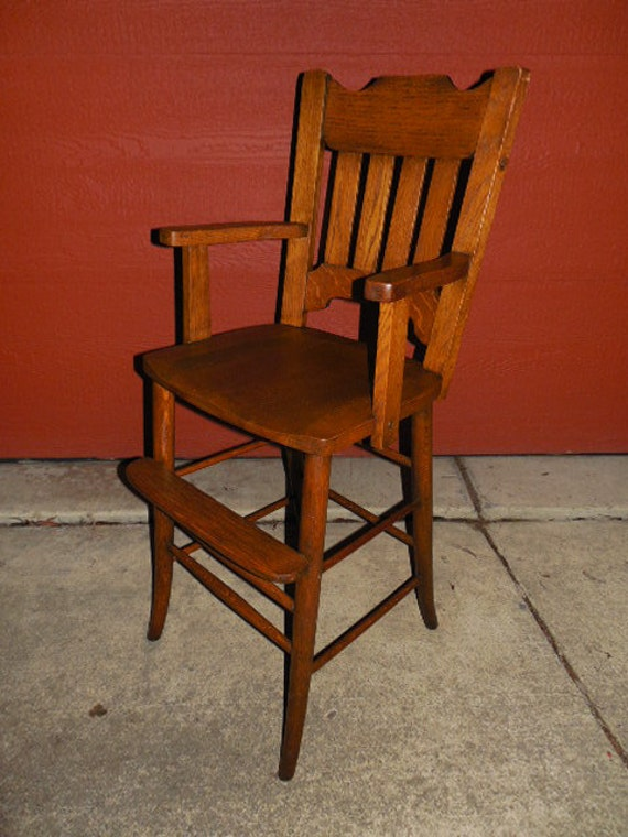 Antique High Chair American Arts And Crafts Period Mission Oak