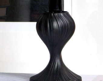 Rosenthal Martin Freyer Black Modernist Candle Holder West Germany Porcelaine Noire  Op Art Studio Line Linie