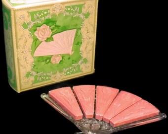 Vintage Avon Hostess Fancy Soap Dish And Soap, 5 - 1oz Fragranced Soaps. Guest Soap, Bathroom, Party, Pink Soap, Fan Shaped Trinket Dish