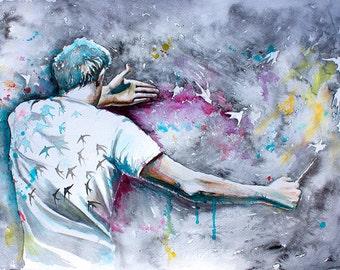 Original Watercolor Painting. Wall art.  Аrdor. Conductor. Director .