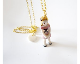 mini kitty miniature porcelain doll necklace