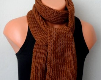 brown men knit scarf, brown winter scarf, chunky men scarf, salmon men handmade scarf, knit scarf gift for her