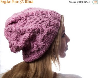 ON SALE Woman Pink knit hat with cables / woman accessory / winter fashion / hand knitted