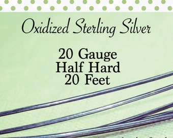 10% OFF! Oxidized Sterling Silver 20g 20 FEET Half Hard ROUND Recycled Silver