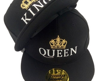 KING and QUEEN with golden crowns embroidered snapback flat peak full cap summer hats. For couples, lovers, him and her. Valentine